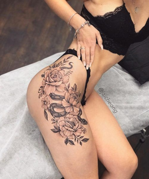 Female Black & Grey Hip Butt Underboob Tattoos?