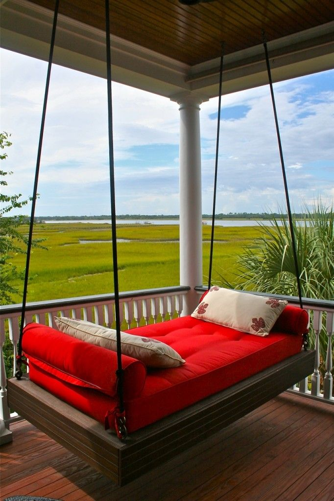 Porch swing bed with marsh and ocean