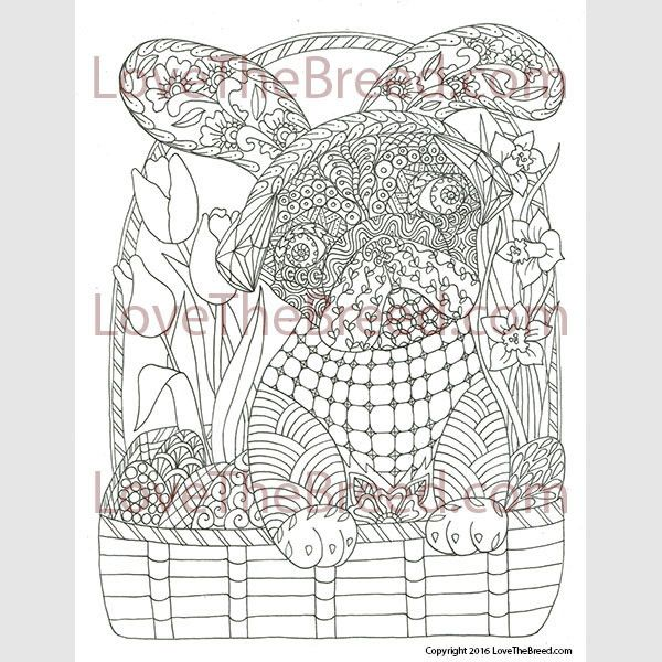 Pug Easter Coloring Page All Ages INSTANT DOWNLOAD