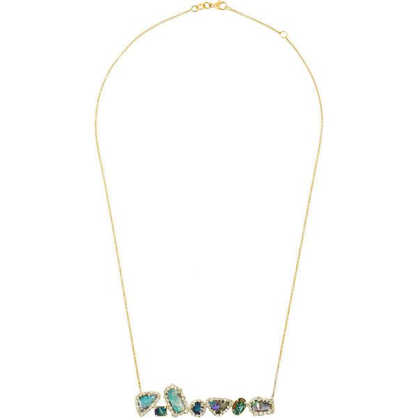 18-karat rose gold, boulder opal and diamond necklace Kimberly... (681,415 PHP) ❤ liked on Polyvore featuring jewelry, necklaces, adjustable necklace, 18k necklace, diamond necklaces, iridescent necklace and chain necklace