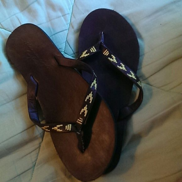 Flip Flops Leather like flip flops.Worn a few times only. America Eagle Outfitters  Shoes Sandals