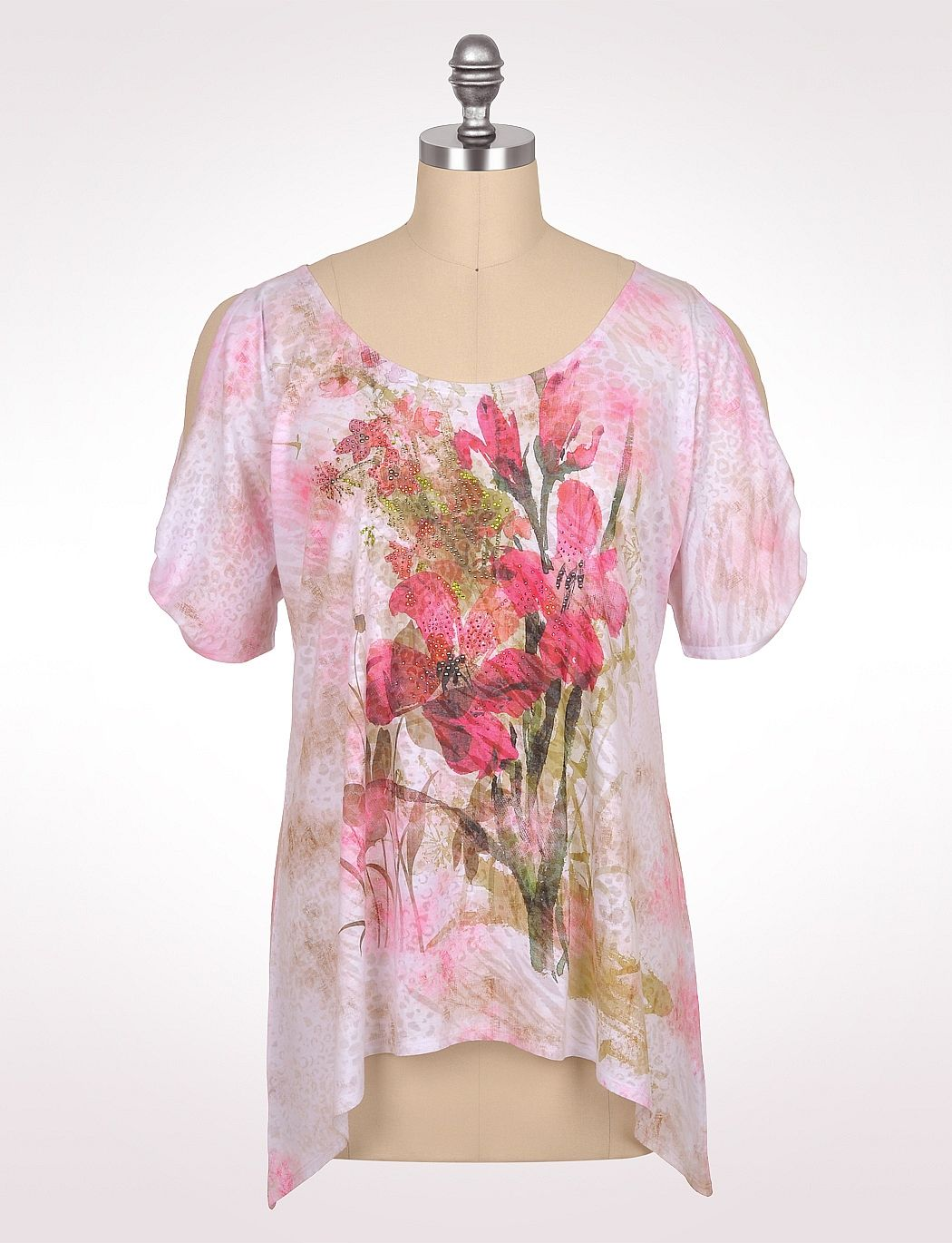 Women's | Tops | Cold-Shoulder Floral Burnout Tee | dressbarn