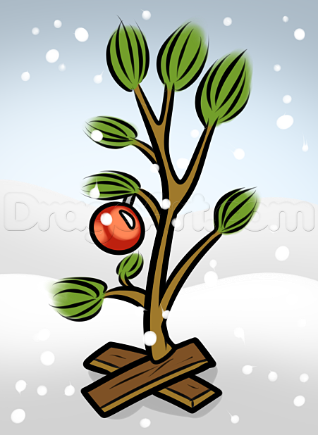 How To Draw The Charlie Brown Christmas Tree Christmas Tree Drawing Charlie Brown Christmas Tree Christmas Tree Logo
