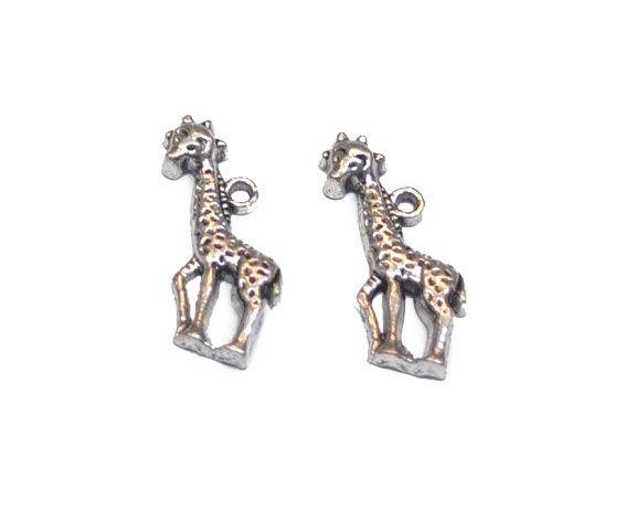 Metalen hanger/bedel giraf ± 22mm ( 2 st )1031 www.beadscreations.nl