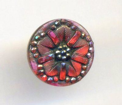 Antique-Button-RED-LACY-GLASS