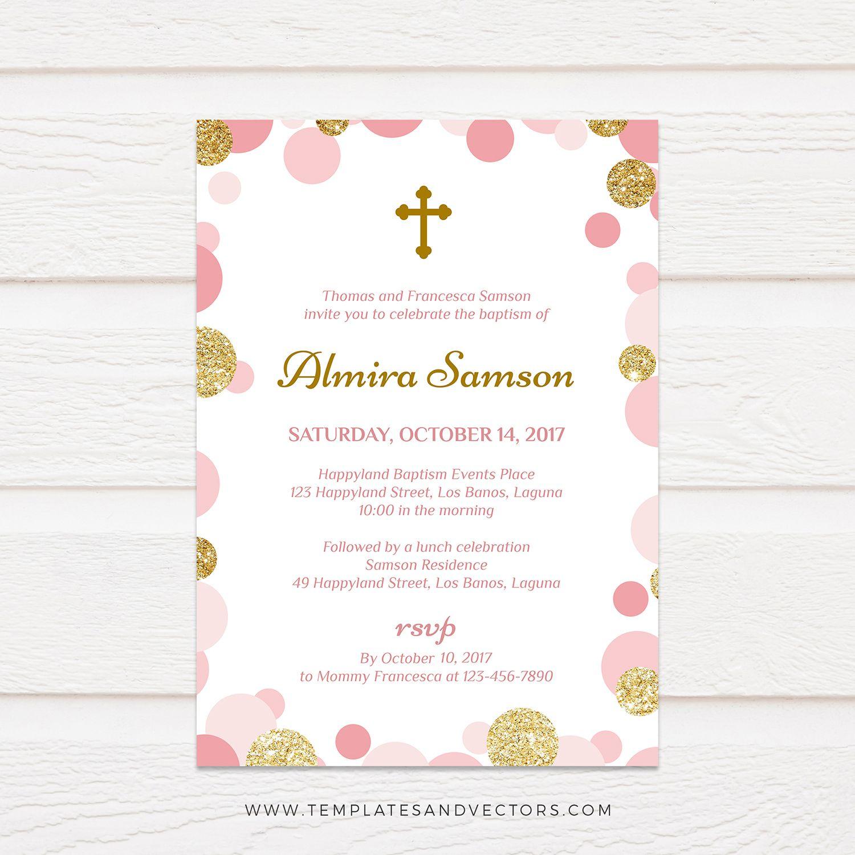 TVC141 Pink and Gold Confetti Baptism Invitation Printable Template | Pink  and gold invitations, Invitation template, Dedication invitations