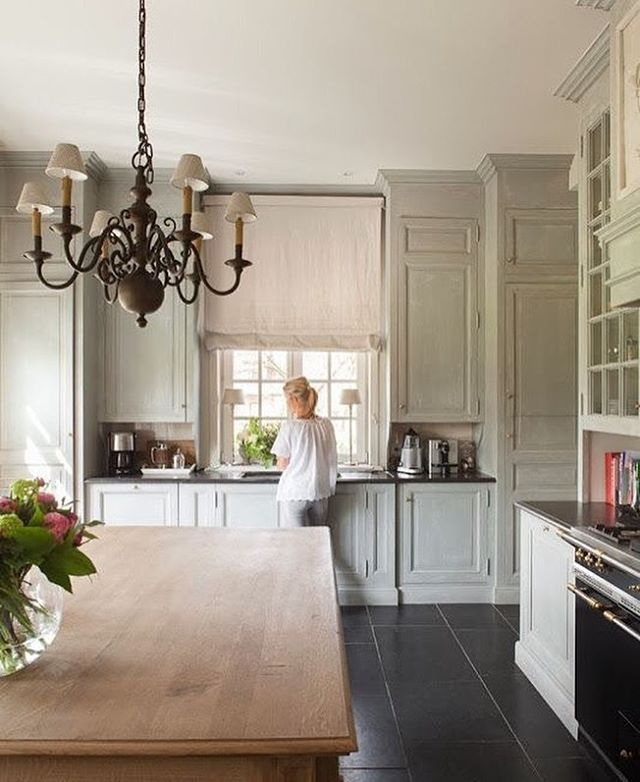 A beautiful, serene and elegant kitchen By @evelyn_moreels ... This ...