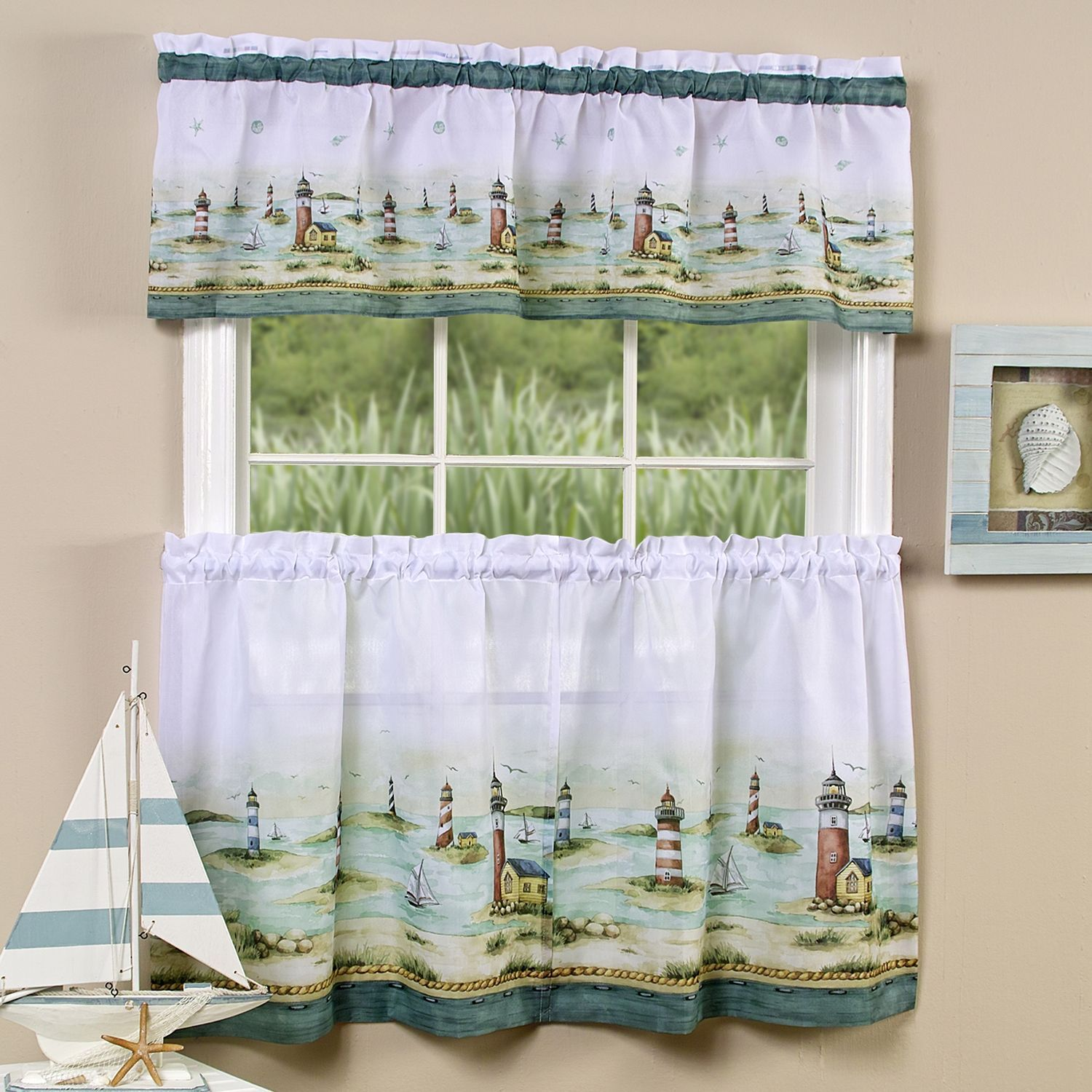 traditional two piece tailored tier and valance window curtains set rh pinterest co uk