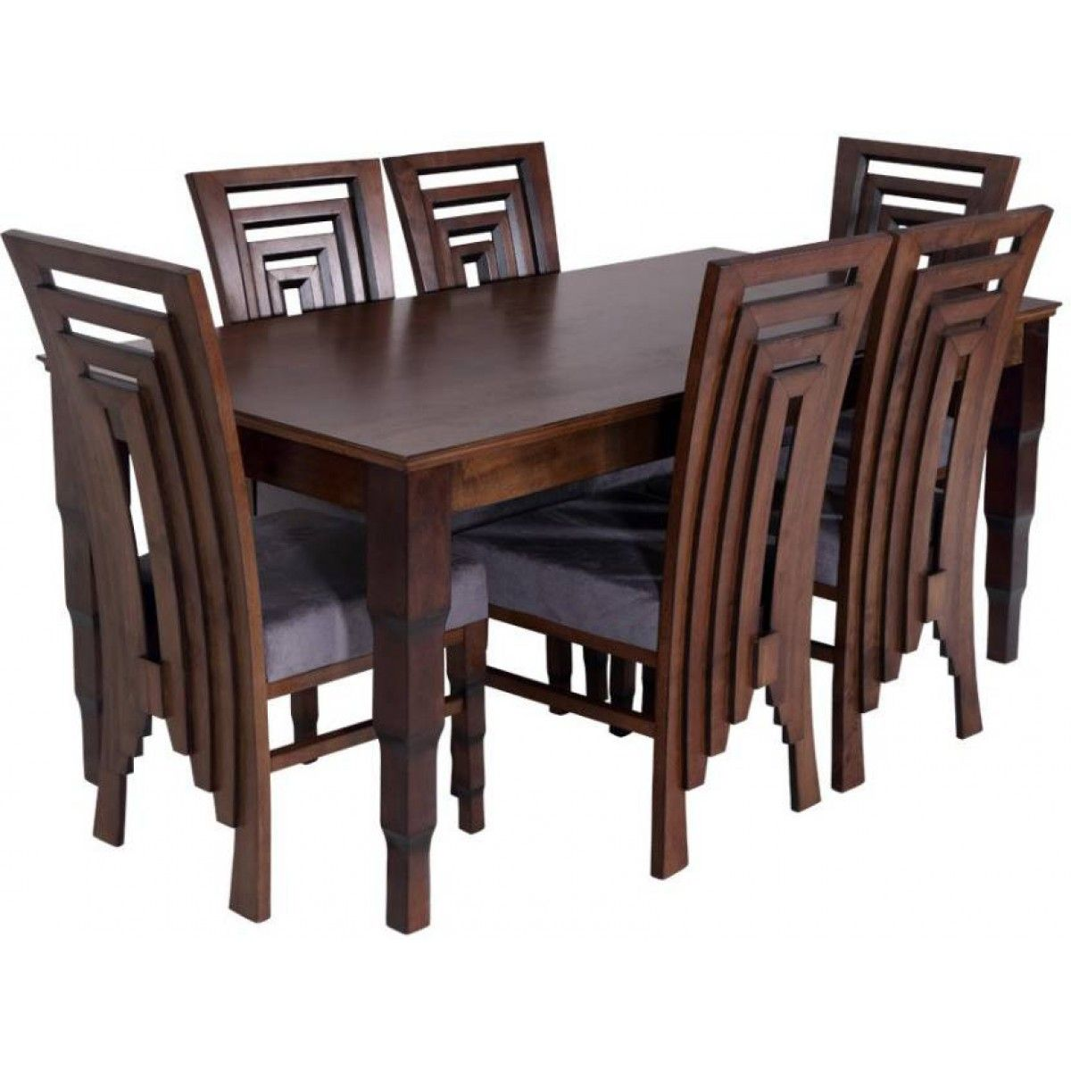 Pure Wooden Crafted Dining Table Set Finish Color Brown