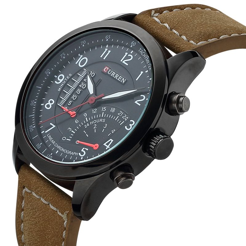 CURREN Men's Leather Style Quartz Luxury Casual Military Watch
