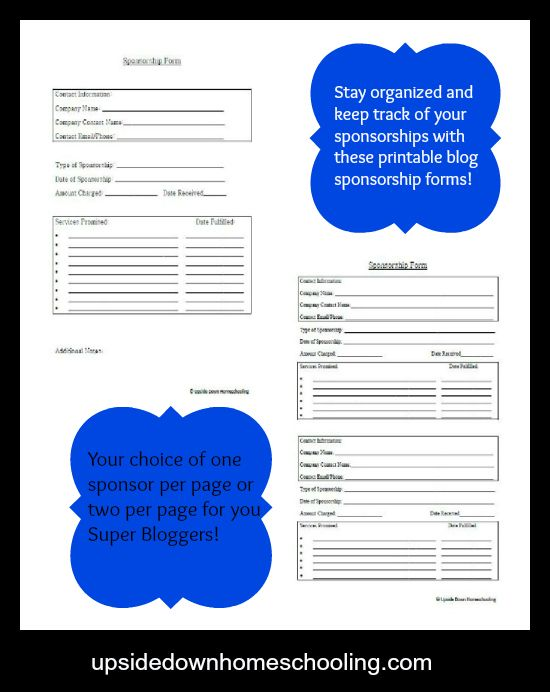 Blog Sponsorship Form Printables- Stay organized and keep track of - free sponsorship form template