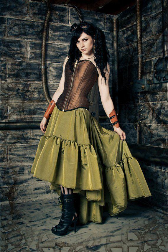 2f4598caa70 Steampunk Skirt - Pirate Gothic Renaissance - Asymmetrical Hem Handmade-