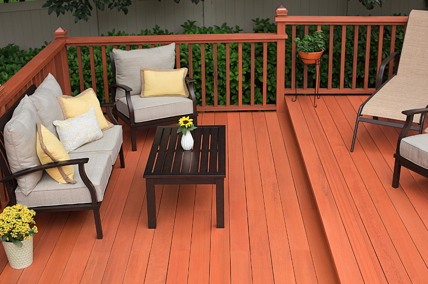 The New Thompson S Waterseal Waterproofing Stains Now Available At The Home Depot In Sequoia Red Deck Stain Colors Staining Deck Summer Deck