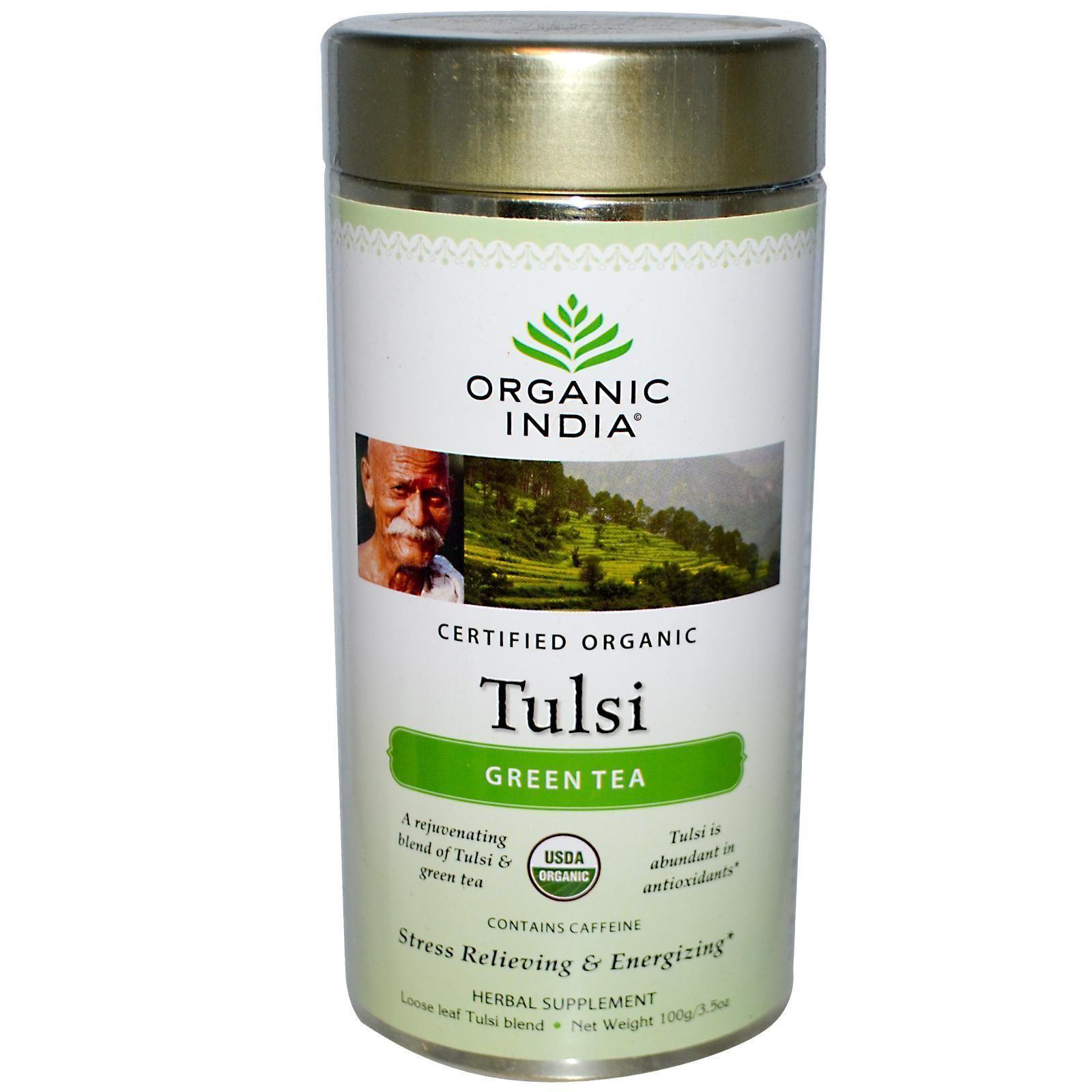 Blend gourmet herbal tea - Authentic Tulsi Green Tea Loose Leaf 100 Gm Organic India