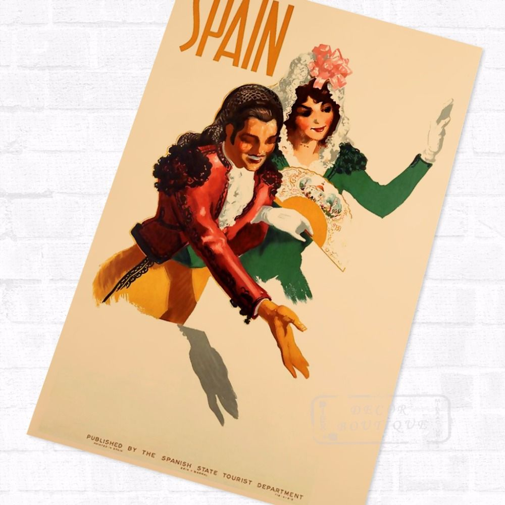 Spain Travel Cuture Beauty Landscape Travel Poster Vintage Retro ...