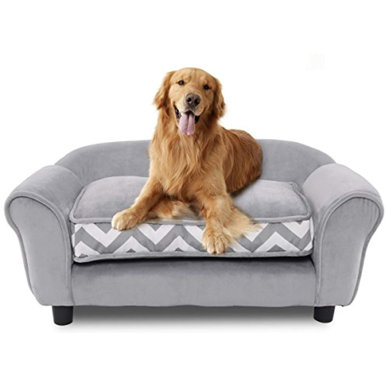 Pet Sofa Ultra Plush Snuggle Soft Warm Dog Puppy Sleeping Bed w/ Cushion Gray Dog Supplies