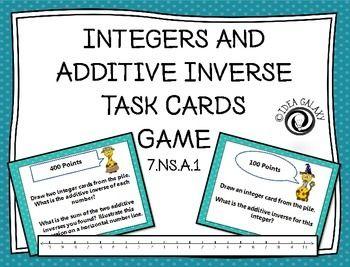 math worksheet : adding integers with additive inverse task cards game  negative  : Additive Inverse Worksheets