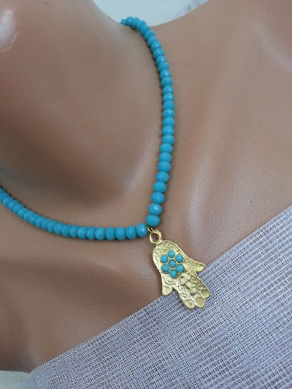 Turquoise & hand...Lady elegance ..Mat turquoise beads by DeryaArt