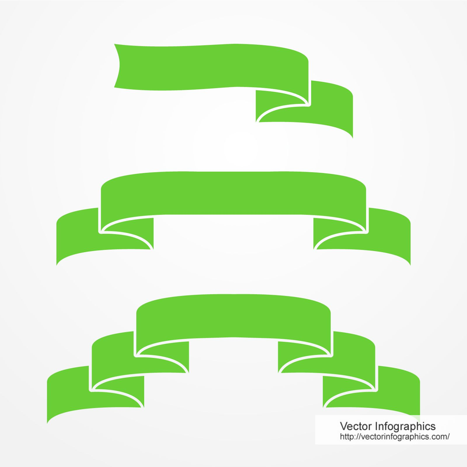 Green ribbons set, download free vector infographics (eps + jpg + pdf)