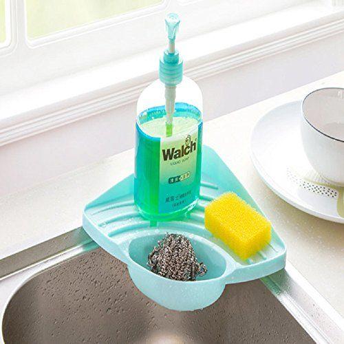 SOLOKA Kitchen Sink Caddy Sponge Holder Scratcher Holder Cleaning Brush Holder Sink Organizer
