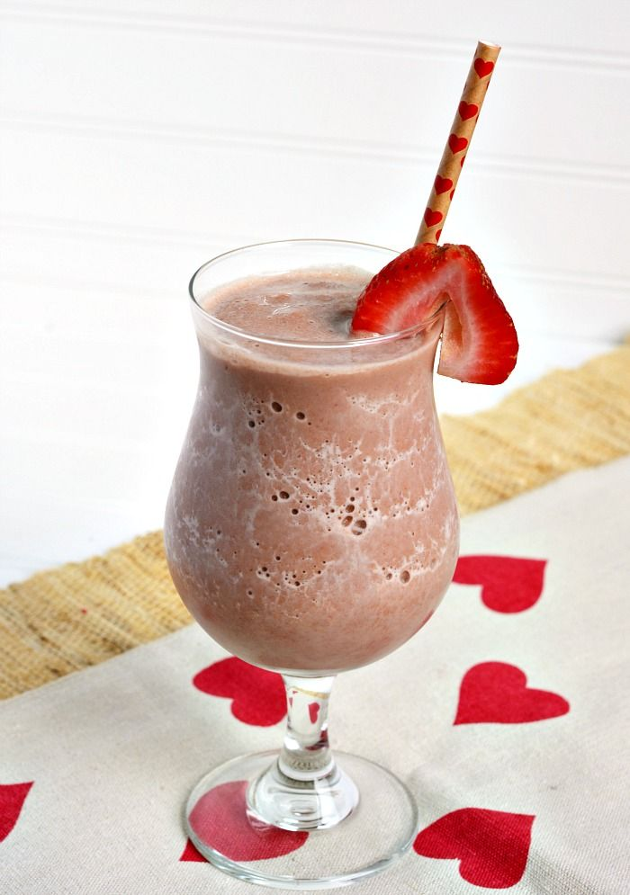 Make Valentine's Day special for kids with a Chocolate Covered Strawberry Smoothie Recipe full of chocolate, yogurt, milk and yummy strawberries.