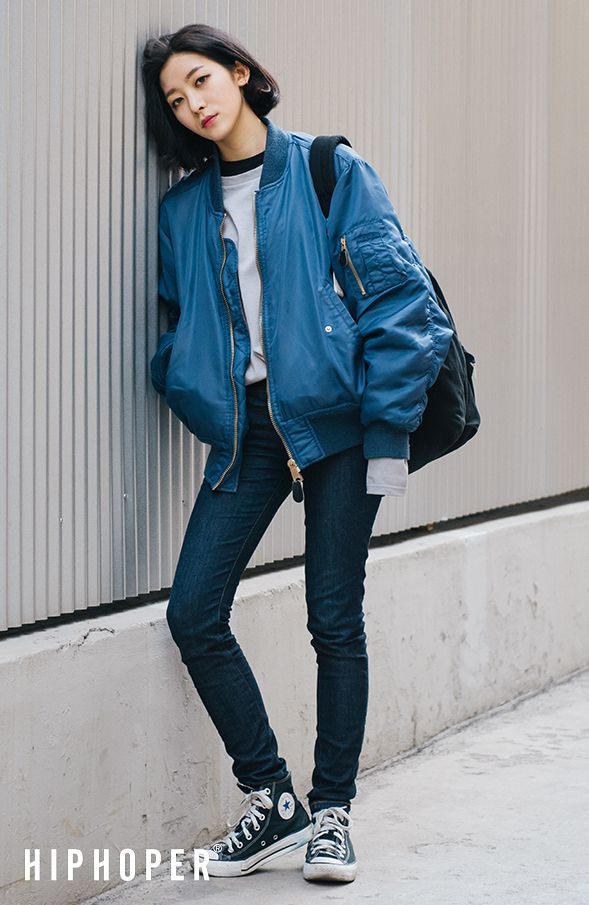 Can't go wrong with a blue bomber jacket and navy jeans. All I ...