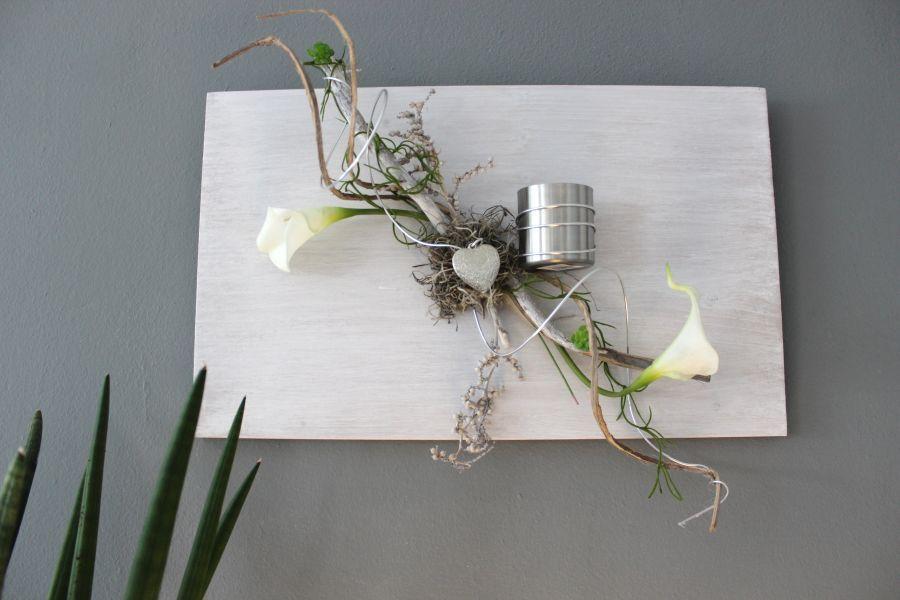 Stunning WD u Au ergew hnliche Wanddeko Holzbrett bebeizt und wei geb rstet dekoriert mit nat rlichen Materialien