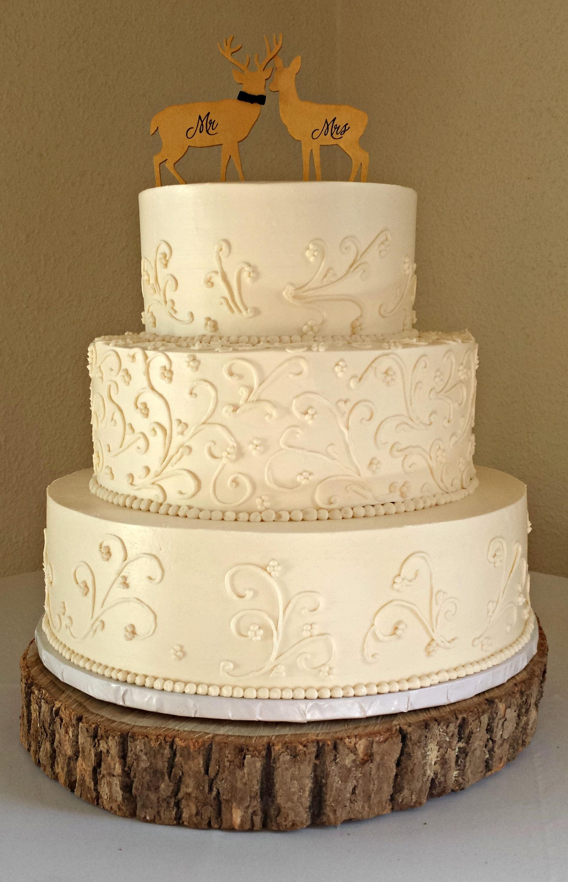 Gluten Free White Buttercream Wedding Cake with Scrollwork and Deer ...