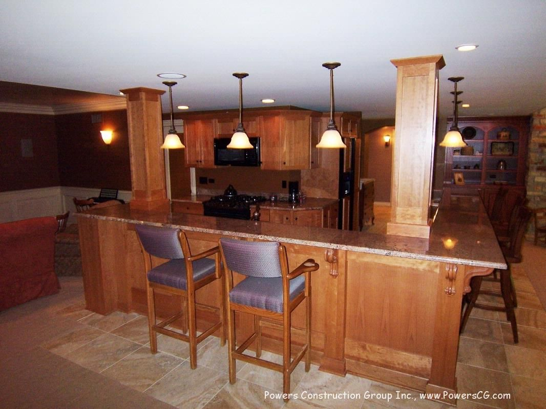 L Shaped Basement Bars Powers Construction Group Inc Construction Group L Shaped Bar