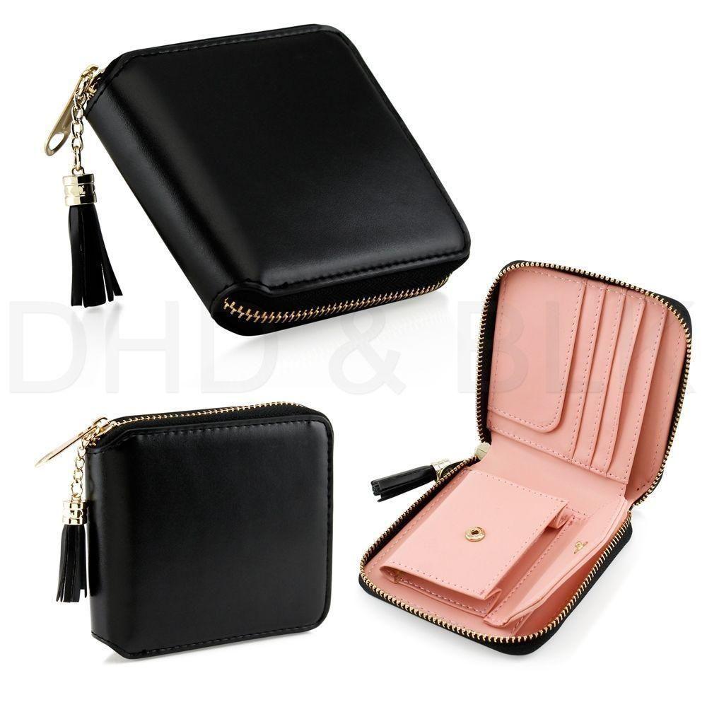 Small Bifold Faux Leather Ladies Girl Wallet Women Zipper Organizer Purse Tassle