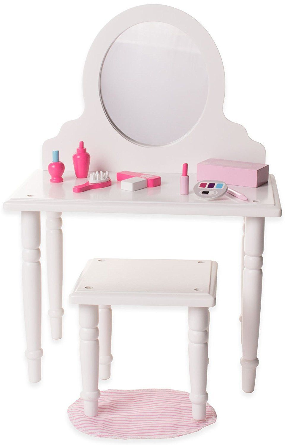 Eimmie Vanity And Stool Set With Accessories Doll Furniture