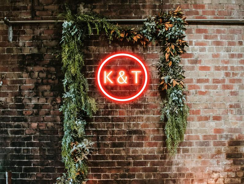 Custom Initials Neon Sign - Wedding Neon Light- We