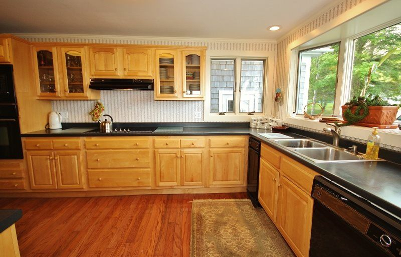 The spacious kitchen at Bellevue in Owls Head, Maine.