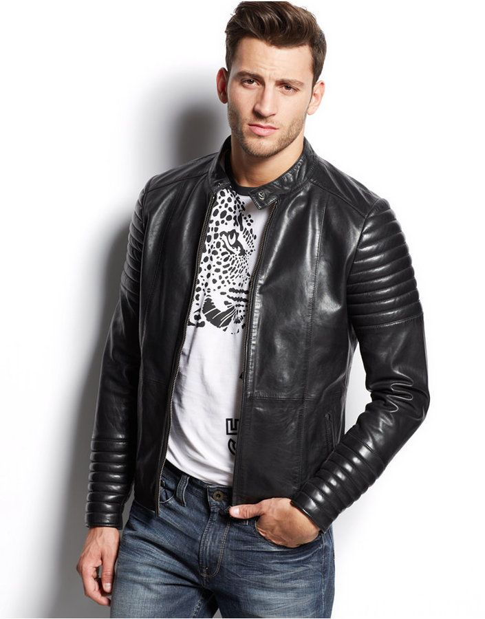 82030f28c70c Versace Jeans Leather Moto Jacket   Looks   Jackets, Leather et ...