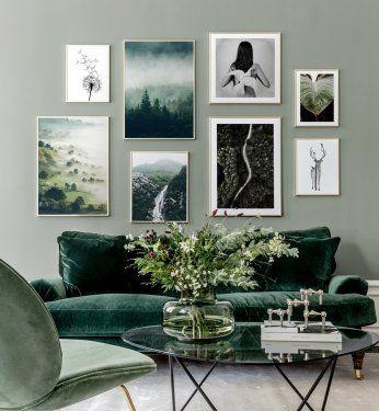 Cuadro de pared inspirado en la naturaleza con tonos verdes