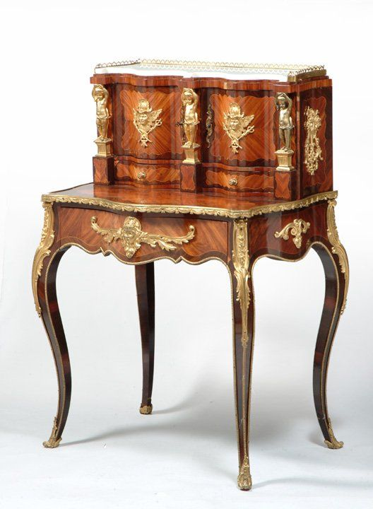Lot 15 louis xv style napoleon iii period bonheur du for Meuble bureau louis xv