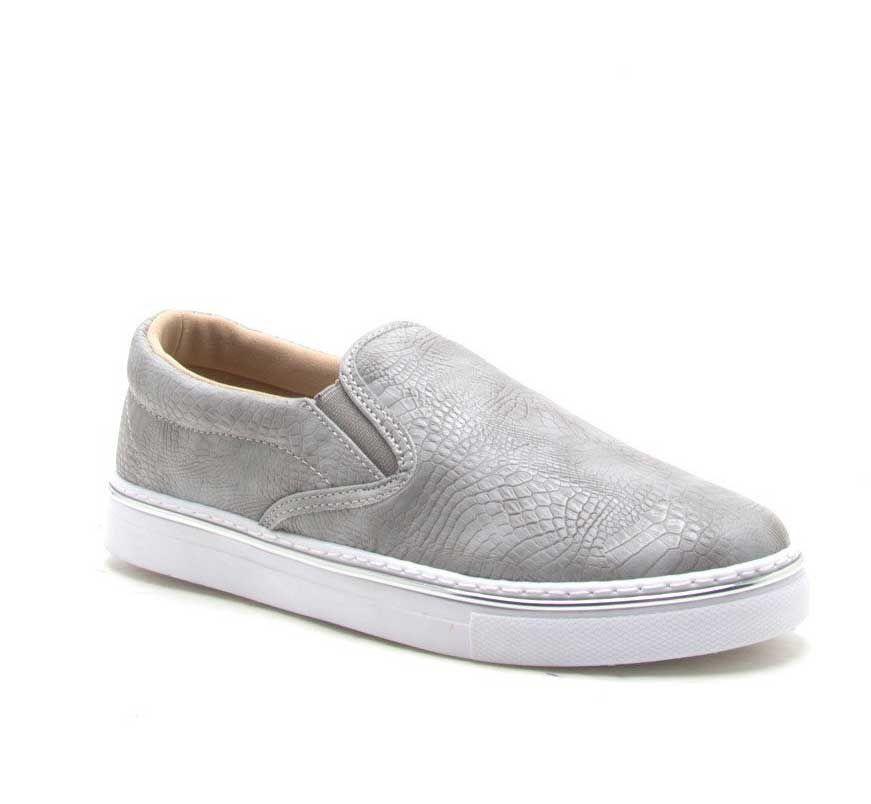 c7e118eb051337 Qupid Shoes Matthew Slip On Sneakers in Grey MATTHEW-01-GREY