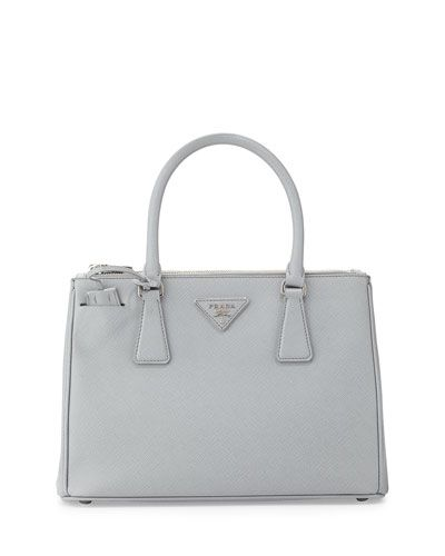 V2FHQ Prada Saffiano Lux Double-Zip Tote Bag, Light Gray (Gratino)