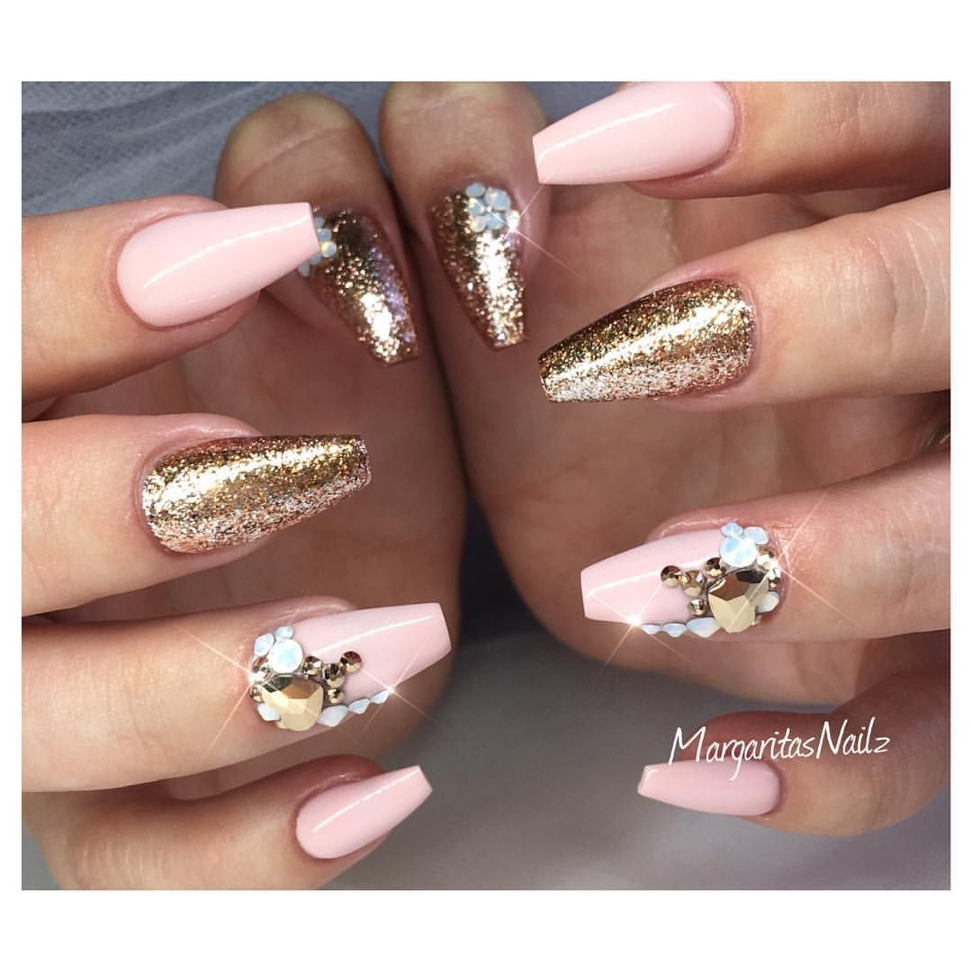 Nude coffin nails rose gold fall fashion nail art design by ...