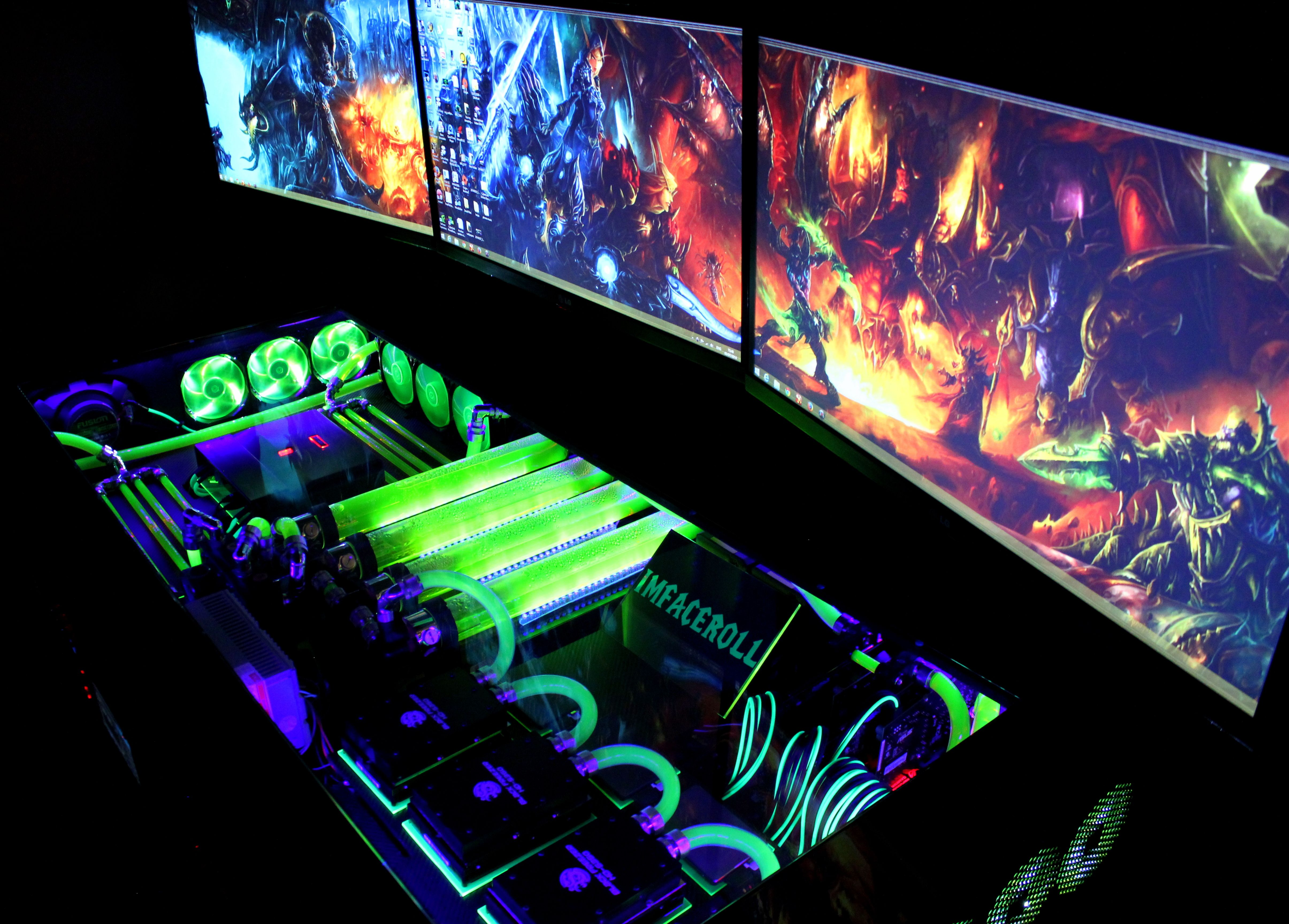 My ultimate gaming setup man cave bedroom june 2014 youtube - My Computer Rig Tower Pc Gaming Setup Liquid Cooled Wow World Of Warcraft Wall Paper Www
