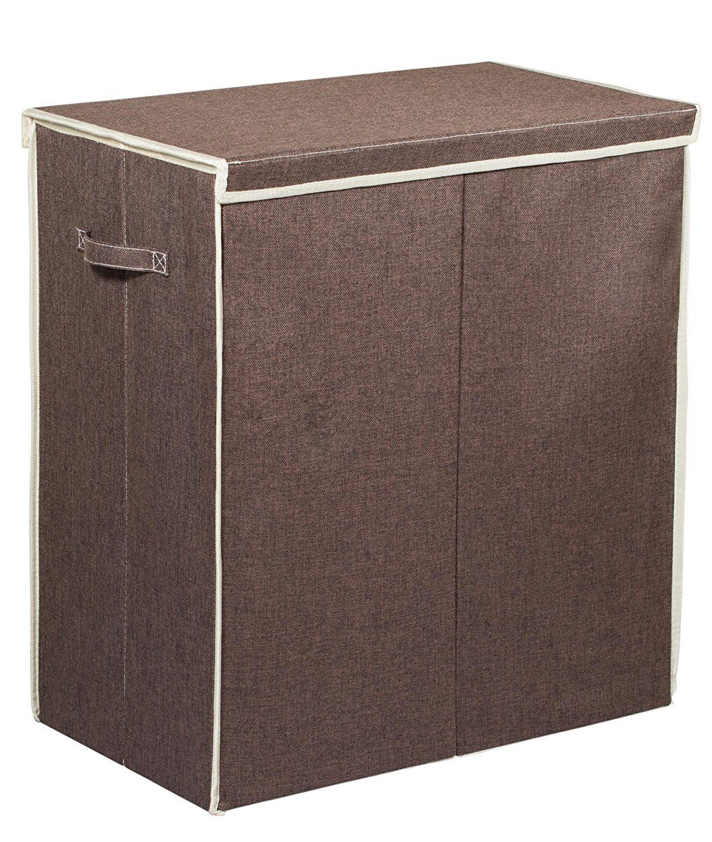 Double Laundry Hamper With Lid Two Compartment Clothes Laundry