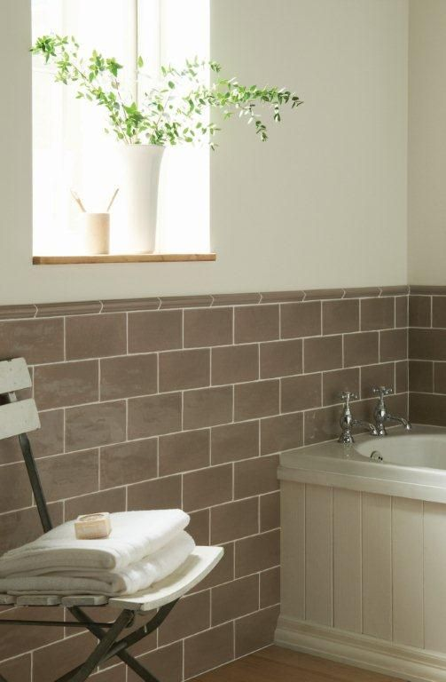 Truffle Brick Tiles In A Sophisticated Bathroom From The