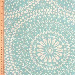 Tissu d'ameublement à motif oriental sur fond turquoise