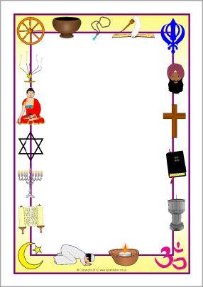 religious symbols page border sparklebox