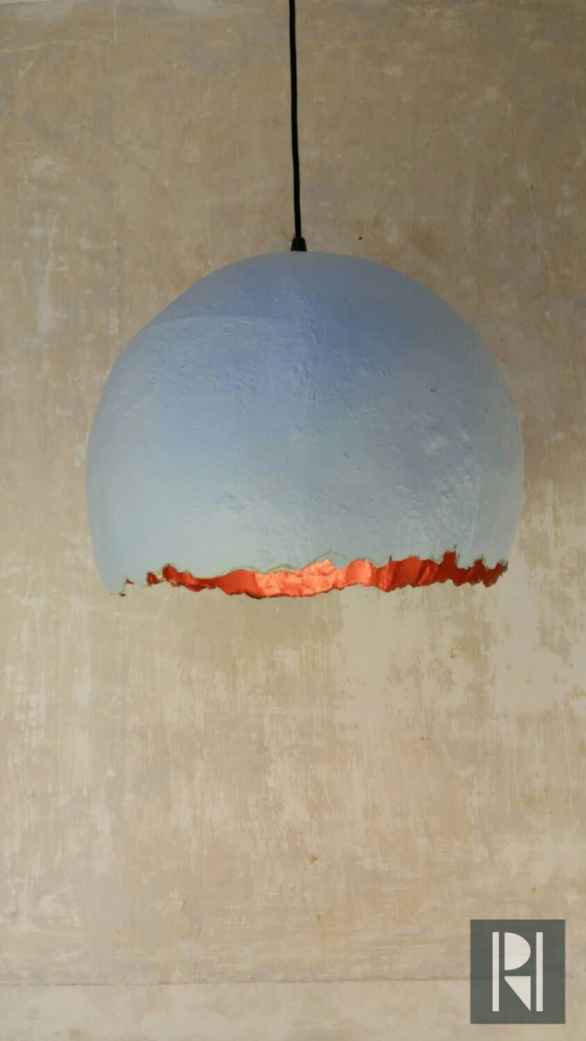 Paper Mache lamp large! Pendant lamp, dutch design, Eco friendly ... for Recycled Paper Lamp  45ifm