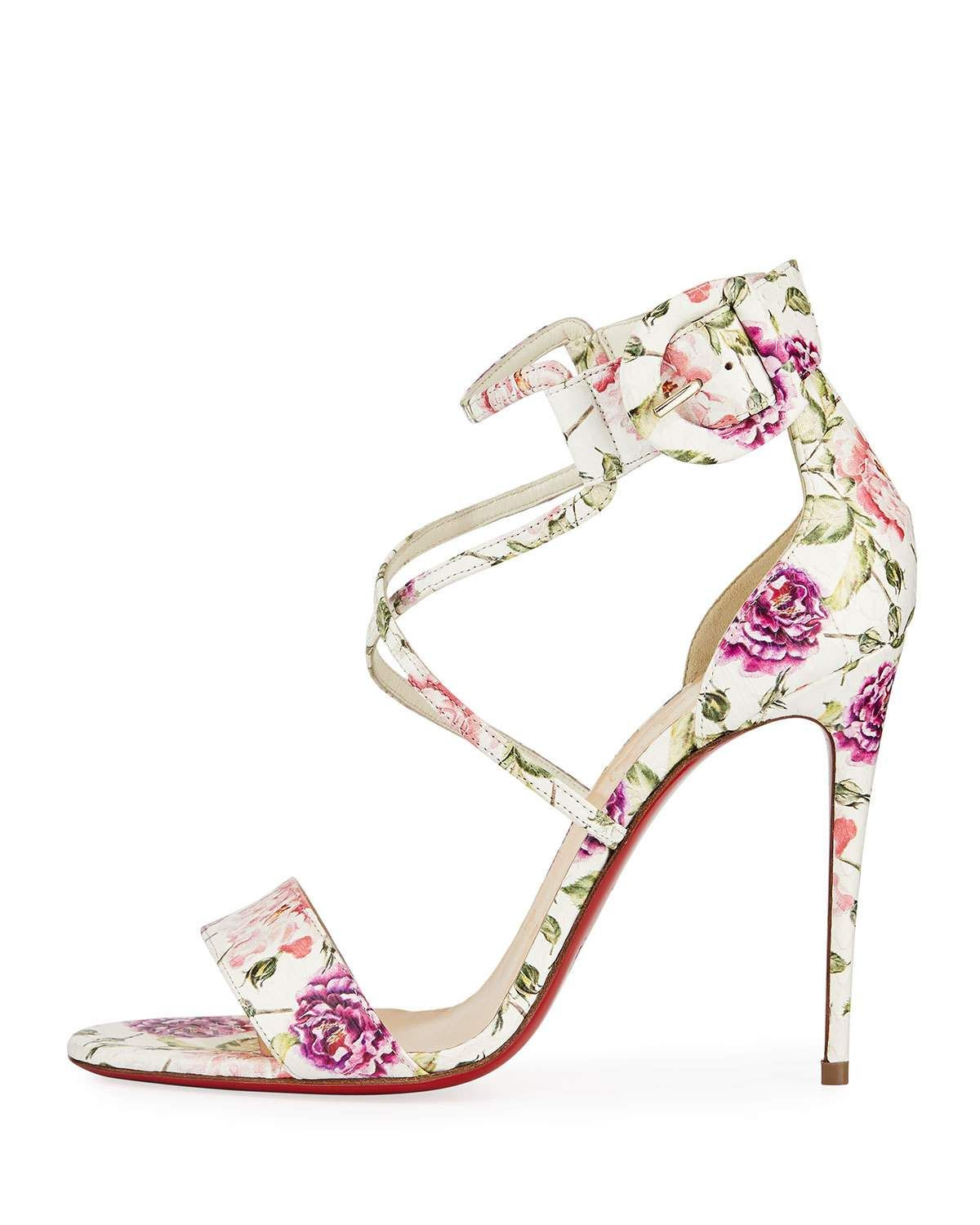 69640c0802e0 Christian Louboutin Choca Floral Snake Red Sole Sandal