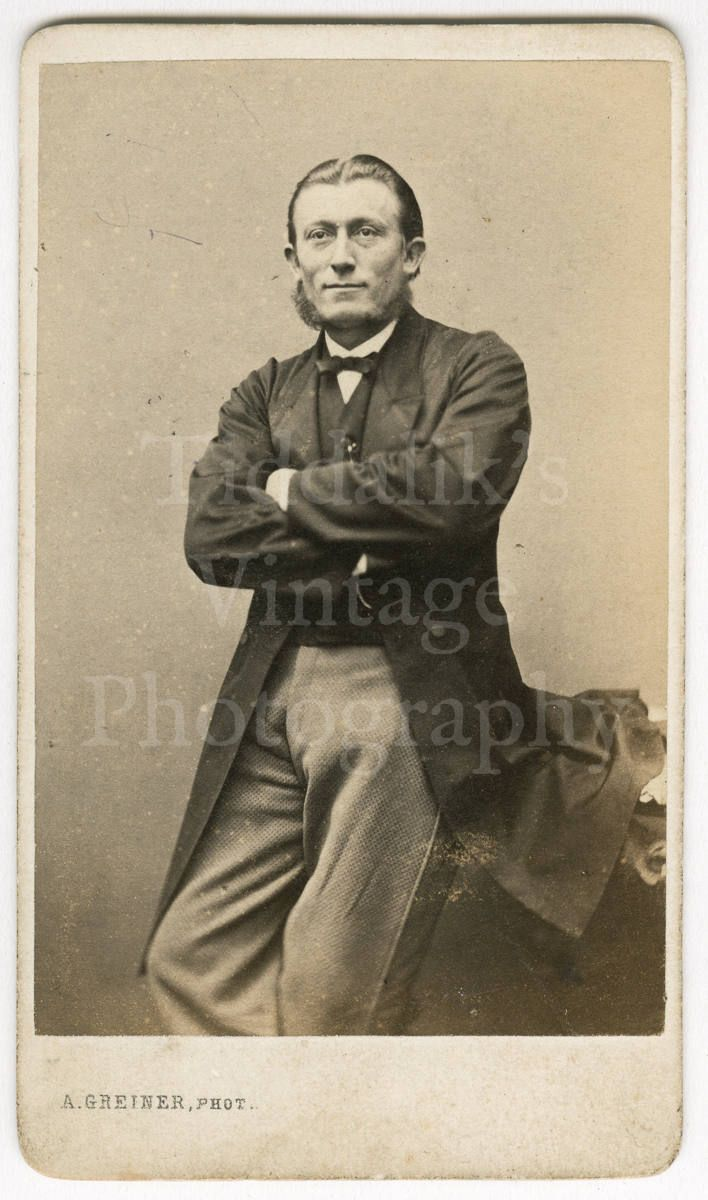 CDV Carte De Visite Photo Victorian Man With Mutton Chops Standing Portrait By A Greiner Of Amsterdam Netherlands