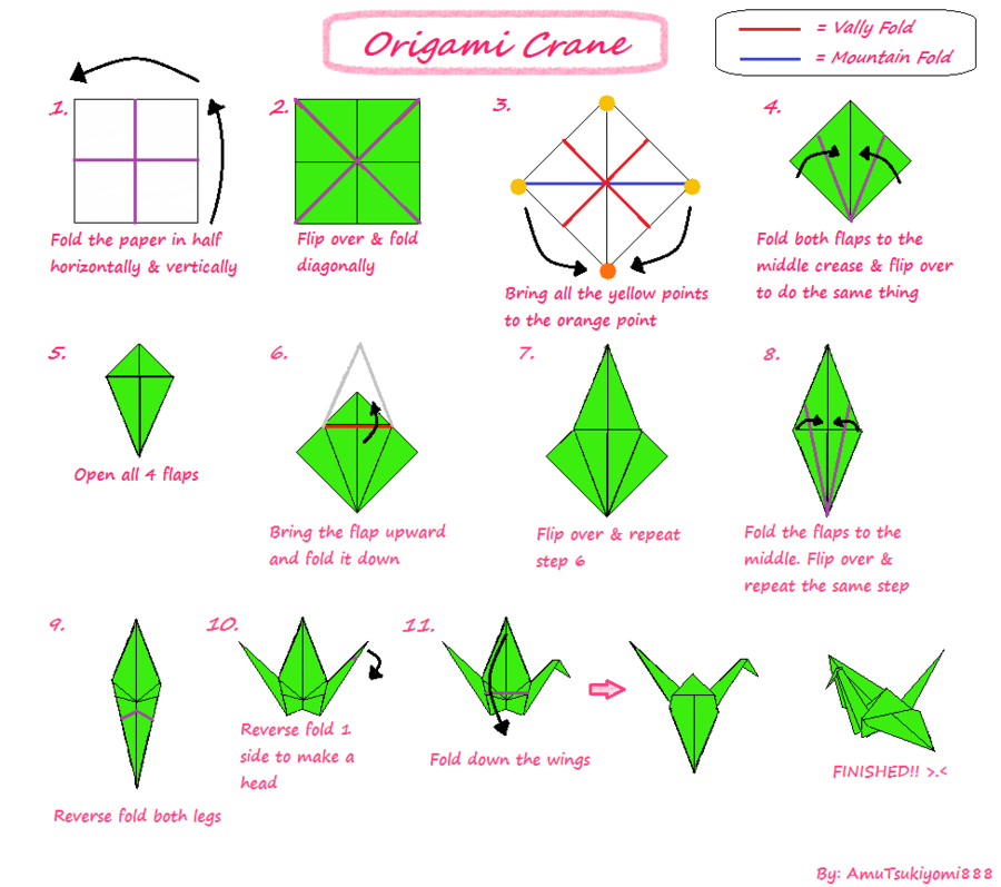 Tutorial Origami Crane By Amutsukiyomi888 Grue Origami Origami