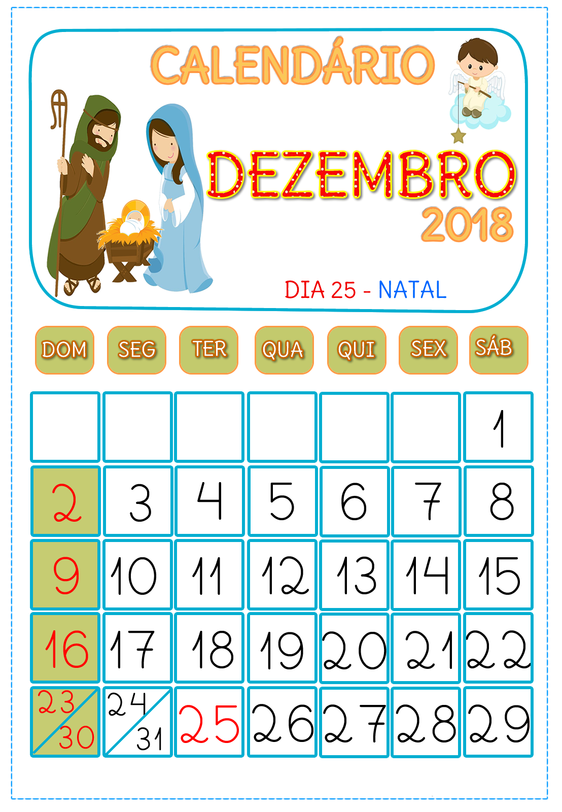 Calendario Dezembro 2018Modelo Calendário dezembro