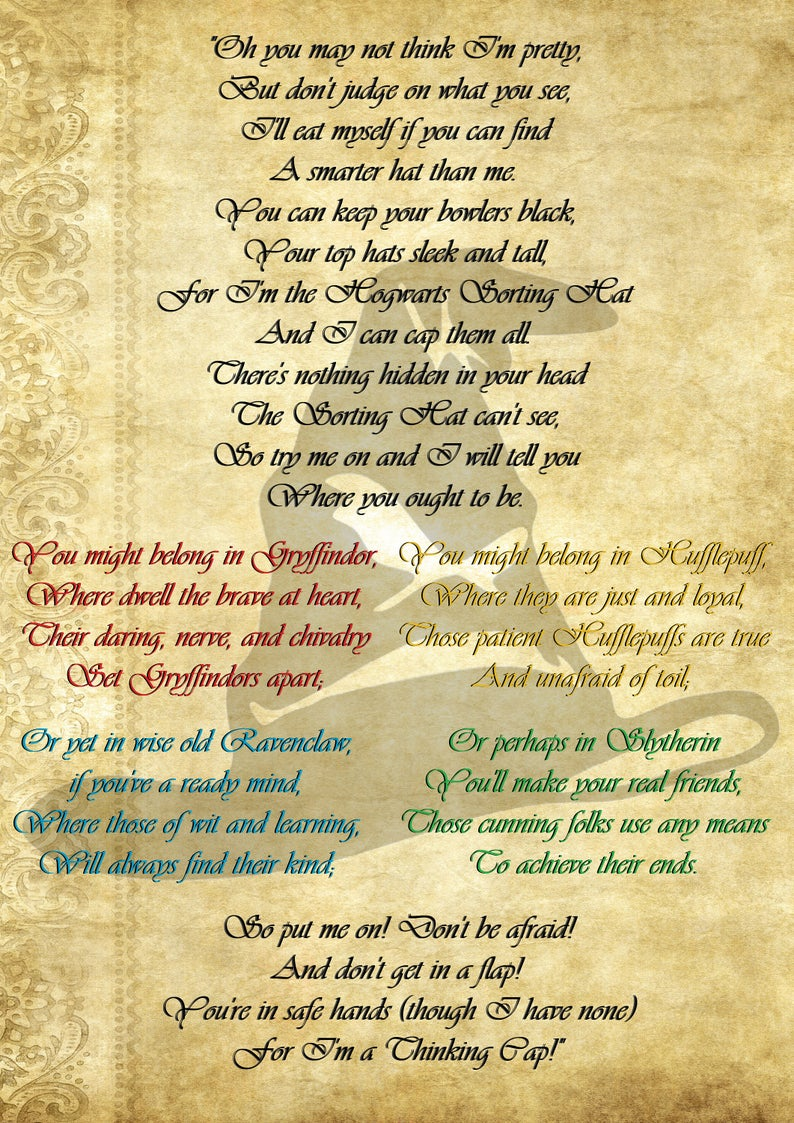 Harry Potter Sorting Hat Poem Digital Print In 2020 With Images